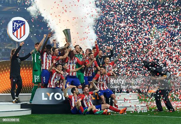 The Club Atletico de Madrid team celebrates after winning the UEFA Europa League Final against Olympique de Marseille at Stade de Lyon on May 16 2018...