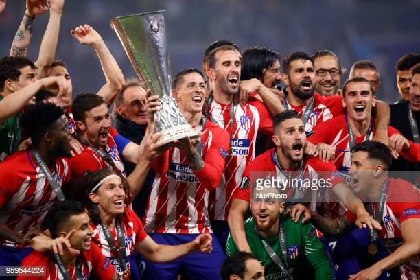 The Club Atletico de Madrid team celebrates after winningthe UEFA Europa League Final between Olympique de Marseille and Club Atletico de Madrid at...