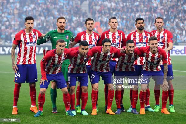 The Club Atletico de Madrid team lineup before the UEFA Europa League Final between Olympique de Marseille and Club Atletico de Madrid at Stade de...