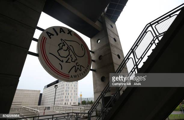 The club badge outside the stadium before the UEFA Champions League Qualifying Third Round match between Ajax and OSC Nice at Amsterdam Arena on...