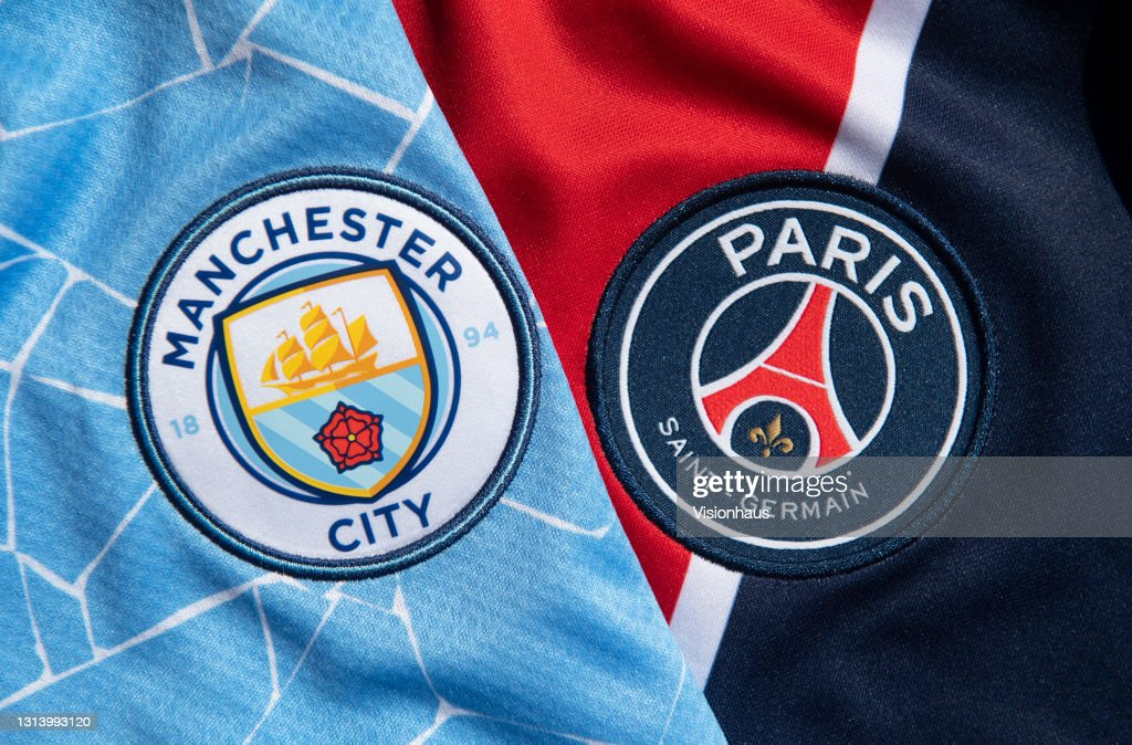 The Club Badges of Manchester City and Paris Saint-Germain : News Photo