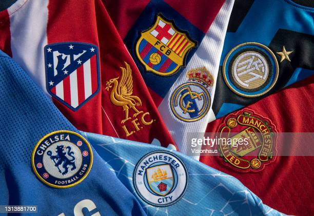 The club badges of some of the teams involved in the European Super League; Liverpool, Barcelona, Real Madrid, Inter Milan, Chelsea, Atletico Madrid,...