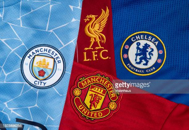 The club badges of the four Premier League teams in the 2021/22 UEFA Champions League Manchester City, Liverpool, Manchester United and Chelsea on...