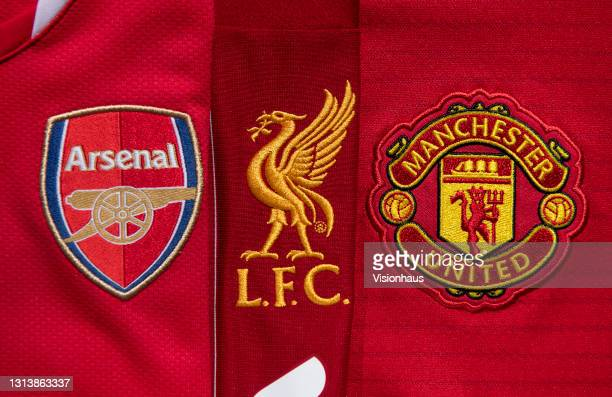 The club badges on the home shirts of the English teams with American owners involved in the setting up of the European Super League, Arsenal,...
