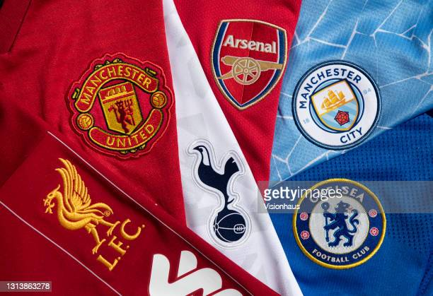 The club badges on the home shirts of the so-called top six in English football, Arsenal, Chelsea, Liverpool, Manchester United, Manchester City and...