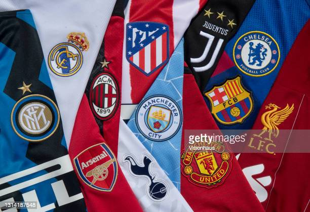 The club badges on the home shirts of the twelve European Super League teams; Inter Milan, Atletico Madrid, AC Milan, Arsenal, Real Madrid,...