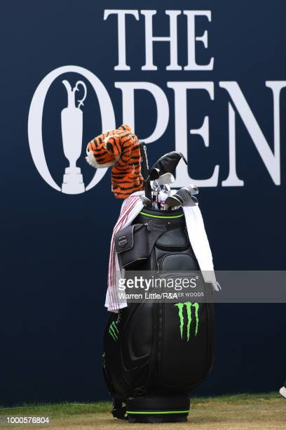 The club bag of Tiger Woods of the United States seen as he prepares to tees off at the 1st tee while practicing during previews to the 147th Open...