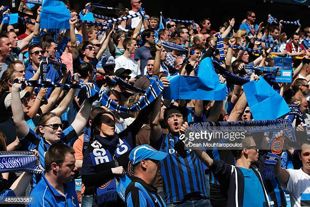 The Club Brugge fans show theri support by singing You'll Never Walk Alone prior to the Jupiler League match between Club Brugge and Royal Standard...