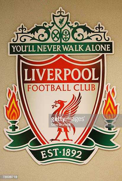 The club emblem at Anfield home of Liverpool Football Club on February 14 2007 in Liverpool England