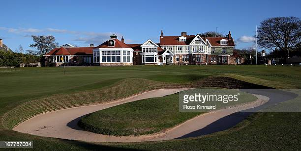 The Club House and the bunker next to the 18th green at Muirfield pictured during The Open Championship media day at Muirfield on April 29 2013 in...