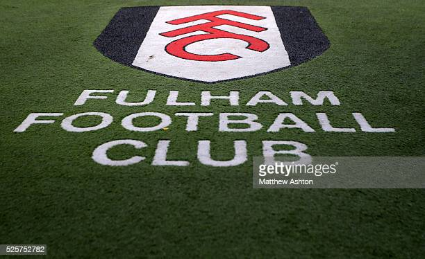 The club logo at Craven Cottage stadium home of Fulham