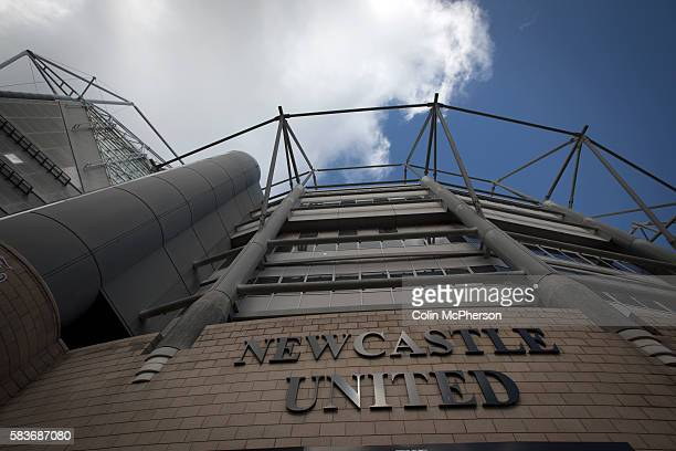 The club name on the exterior of the Milburn Stand of the stadium before Newcastle United host Tottenham Hotspurs in an English Premier League match...
