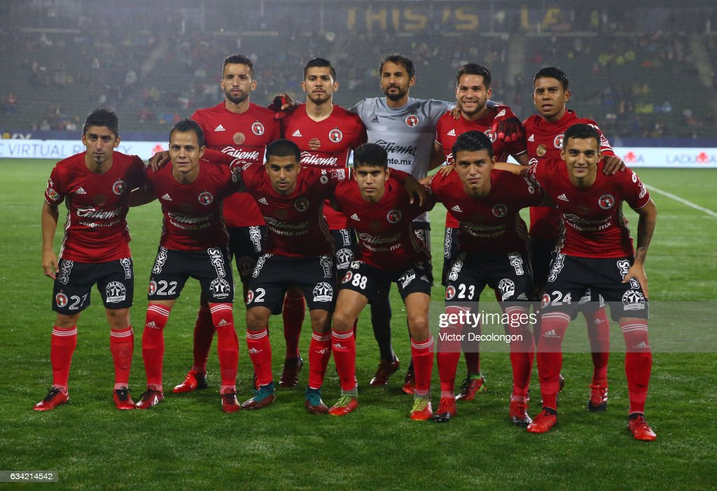 The Club Tijuana Starting XI pose for a group photo prior to their friendly match against Los Angeles Galaxy at StubHub Center on February 7, 2017 in Carson, California.