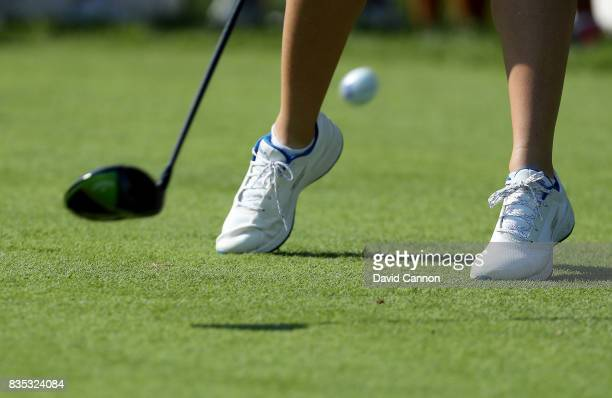 The clubhead and feet of Jodi Ewart Shadoff of the European Team as she plays her tee shot on the 12th hole in her match with Madelene Sagstrom...