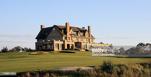 The Clubhouse and 18th fairway at The National Golf Links of America as a preview for the 2013 Walker Cup Match at National Golf Links of America on...