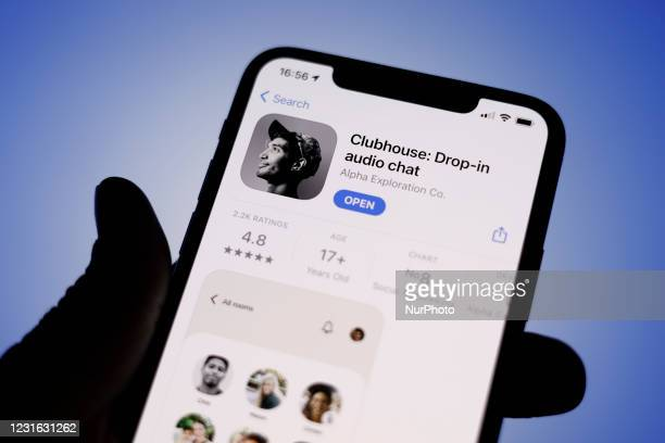 The Clubhouse application is seen in the Apple App Store on an iPhone screen in this photo illustration in Warsaw, Poland on March 10, 2021. The...