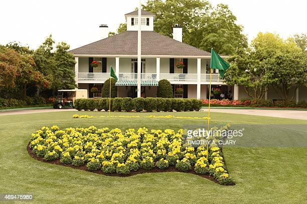 The clubhouse at 79th Masters Golf Tournament at Augusta National Golf Club on April 12 in Augusta Georgia AFP PHOTO/TIMOTHY A CLARY