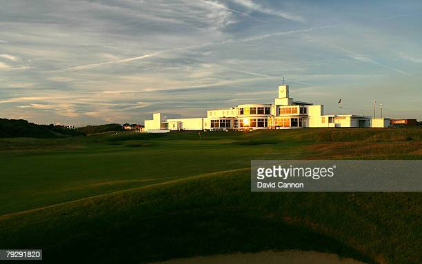 The clubhouse behind the 18th green at Royal Birkdale Golf Club venue for the 2008 Open Championship on October 9 2007 in Southport England