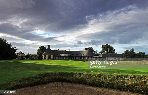 The clubhouse behind the green on the 470 yards par 4 18th hole at The Alwoodley Golf Club on September 15 2010 in Leeds Yorkshire England