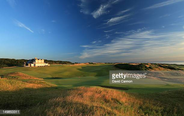 The Clubhouse beside the green on the par 4 18th hole on the Kingsbarns Golf Links Course at Kingsbarns Golf Links on August 3 2012 in St Andrews...