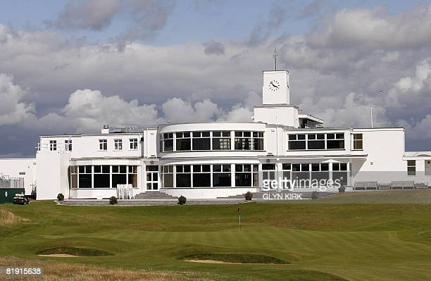 The clubhouse on the 18th green is pictured on 12 July 2008 ahead of the Open Golf Championship on the Royal Birkdale golf course is backdropped...