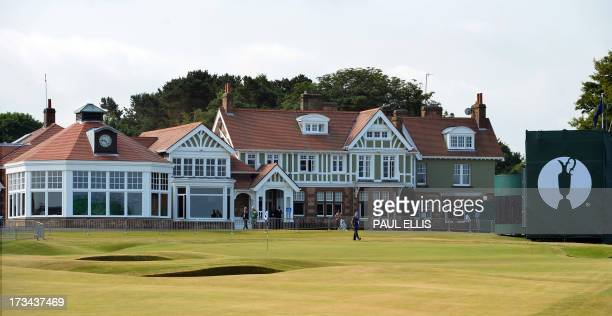 The clubhouse seen in the midday sunshine on a practice day for the 2013 British Open Golf Championship at Muirfield Golf Course in Gullane eastern...