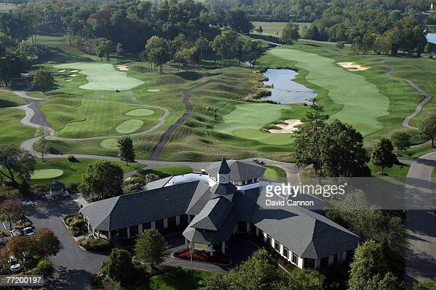 The clubhouse with the par 4, 13th and the par 5 18th hole behind at Valhalla Golf Club venue for the 2008 Ryder Cup Matches, on October 4, 2007 in...