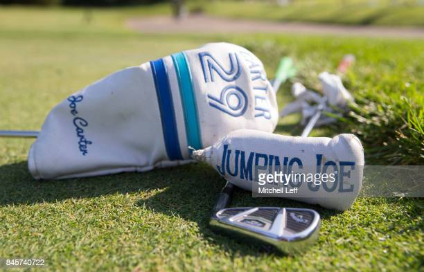 The clubs of Former MLB player Joe Carter rest on the greens during the Julius Erving Golf Classic at The ACE Club on September 11 2017 in Lafayette...