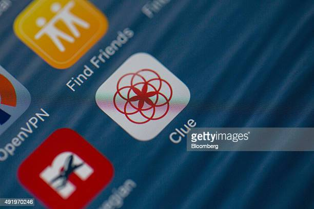 The Clue health app icon made by BioWink GmbH sits on the home screen of a smart device in this arranged photograph in London UK on Friday Oct 9 2015...