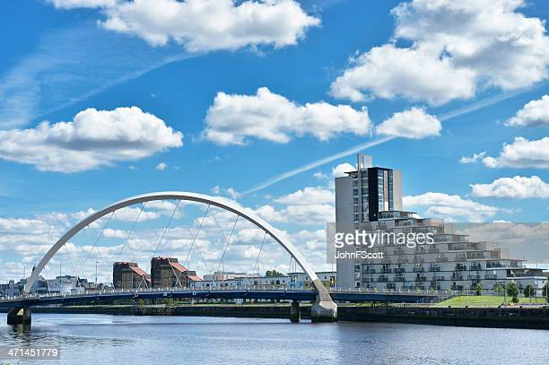 The Clyde Arc or Squinty Bridge in Glasgow, Scotland