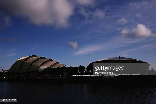 The Clyde Auditorium and the SSE Hydro are seen ahead of the Commonwealth Games on July 21, 2014 in Glasgow, Scotland.