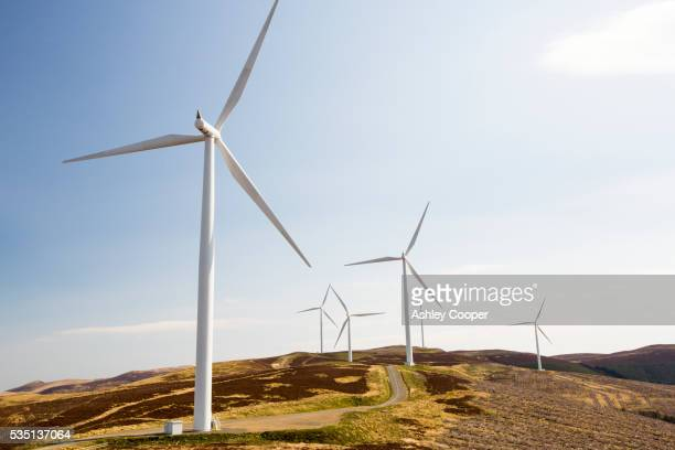 the clyde wind farm in the southern uplands of scotland near biggar. - vindkraft bildbanksfoton och bilder