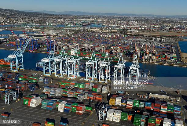 The CMA CGM Benjamin Franklin the largest container ship to ever call at a North America port is docked at the Port of Los Angeles in San Pedro...