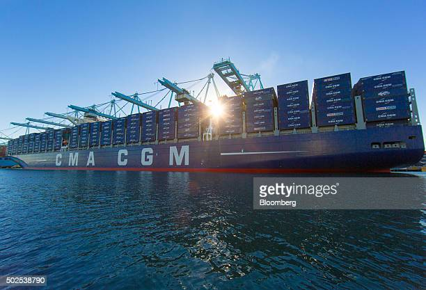 The CMA CGM SA operated Benjamin Franklin sits docked at the Port of Los Angeles in Los Angeles California US on Saturday Dec 26 2015 The Benjamin...