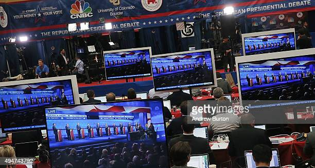 The CNBC Republican Presidential Debate is seen on televisions inside the spin room at University of Colorado's Coors Events Center October 28 2015...