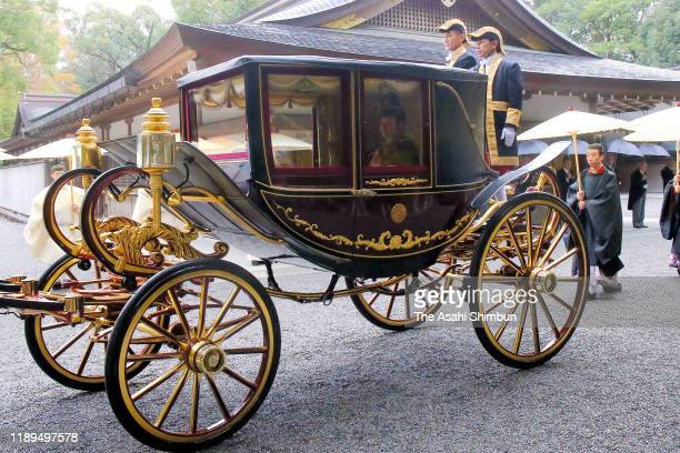 The coach carrying Emperor Naruhito is seen on the way to the Geku, Outer Shrine of the Ise Shrine on November 22, 2019 in Ise, Mie, Japan. Emperor...