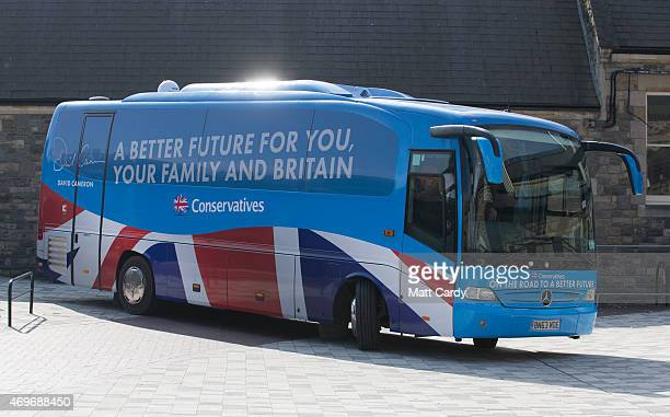 The coach carrying Prime Minister David Cameron arrives for him to unveil the Conservative party manifesto on April 14 2015 in Swindon England The...
