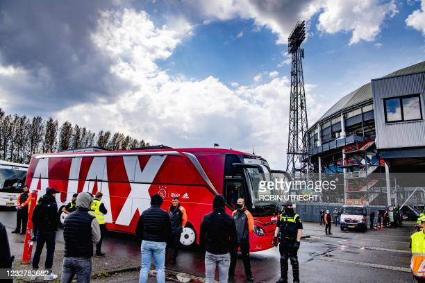 The coach carrying the Ajax players arrives prior to their Eredivisie soccer match between Feyenoord and Ajax at the Feyenoord Stadium in Rotterdam...