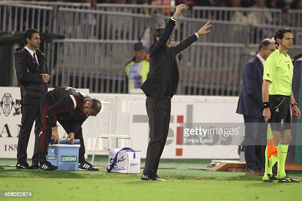 The coach Filippo Inzaghi of Milan during the Serie A match between Cagliari Calcio and AC Milan at Stadio Sant'Elia on October 29 2014 in Cagliari...