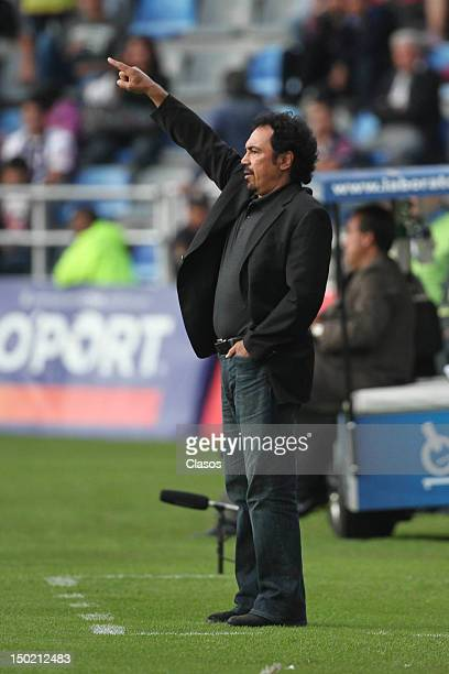 The coach Hugo Sanchez of Pachuca observes the match during the match of soccer between Pachuca vs Tijuana as part of the Torneo Apertura 2012 at...