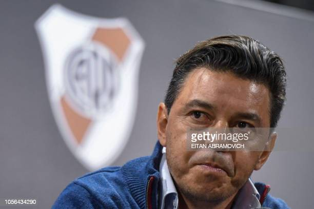 The coach of Argentina's team River Plate Marcelo Gallardo offers a press conference at the Monumental stadium in Buenos Aires on November 2 2018...
