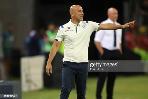 the coach of Brescia Eugenio Corini reacts during the Serie A match between Cagliari Calcio and Brescia Calcio at Sardegna Arena on August 25 2019 in...