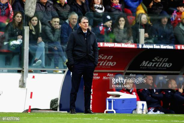 the coach of Cagliari Diego Lopez looks on during the serie A match between Cagliari Calcio and Spal at Stadio Sant'Elia on February 4 2018 in...