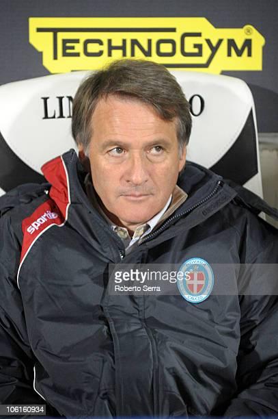 The Coach of Novara Attilio Tesser looks on ahead of the Tim Cup match between AC Cesena and Novara Calcio at Dino Manuzzi Stadium on October 27,...