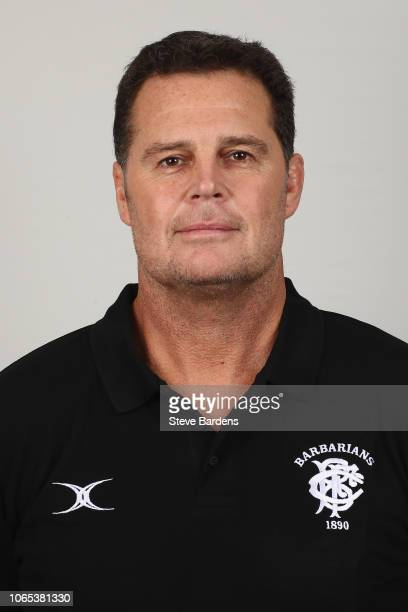The Coach of the Barbarians Rassie Erasmus poses for a portrait during the Barbarians Squad Photocall at Hilton Park Lane on November 26 2018 in...