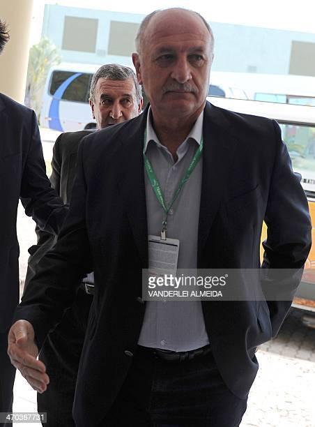 The coach of the Brazilian national football team Luiz Felipe Scolari is followed by technical coordinator Carlos Alberto Parreira as they arrive at...