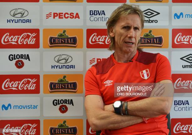 The coach of the Peruvian national football team Argentine Ricardo Gareca speaks during an interview with AFP at the team's headquarters in Lima on...