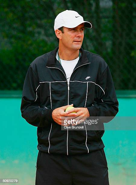 The coach of Tim Henman of Great Britain Paul Annacone in his practice session in preparation for his Semi final match against Guillermo Coria of...
