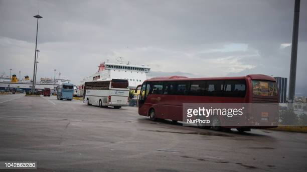 The coaches are leaving towards mainland Greece at the Port of Pireaus 29 September 2018 Thousand migrants and refugees are scheduled to arrive at...