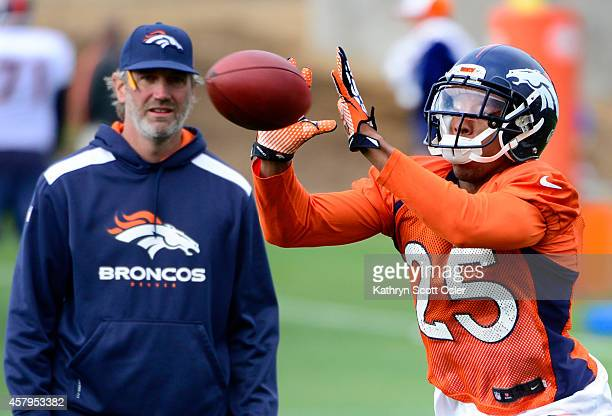 The Denver Broncos Football Team Practices At Dove Valley In
